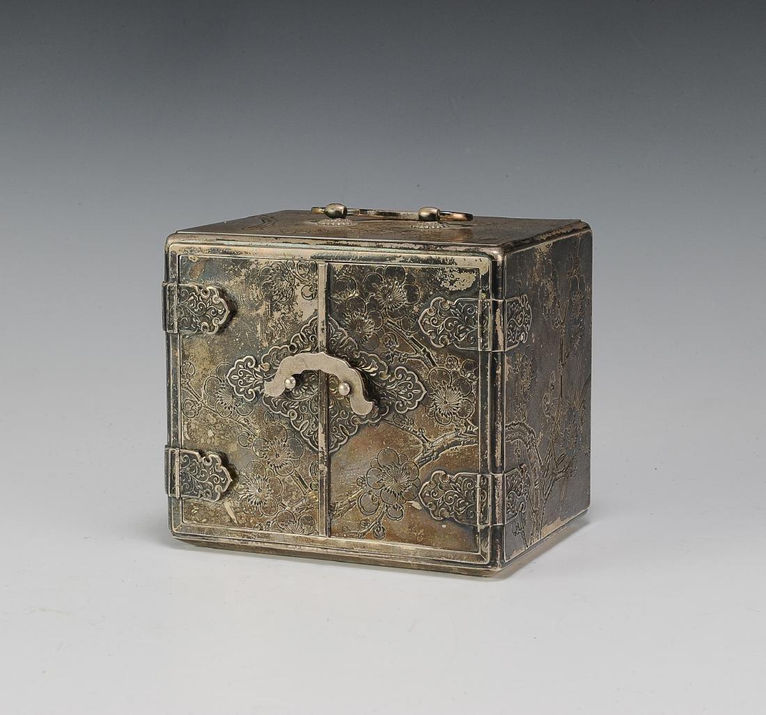 Japanese Silver Scholar's Box, 19th Century