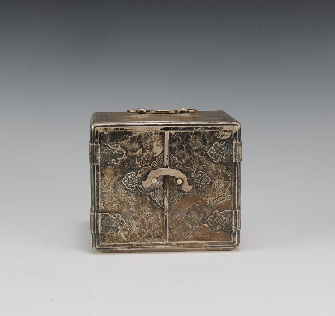 Japanese Silver Scholar's Box, 19th Century - 2