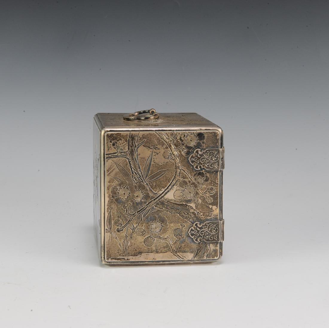 Japanese Silver Scholar's Box, 19th Century - 3