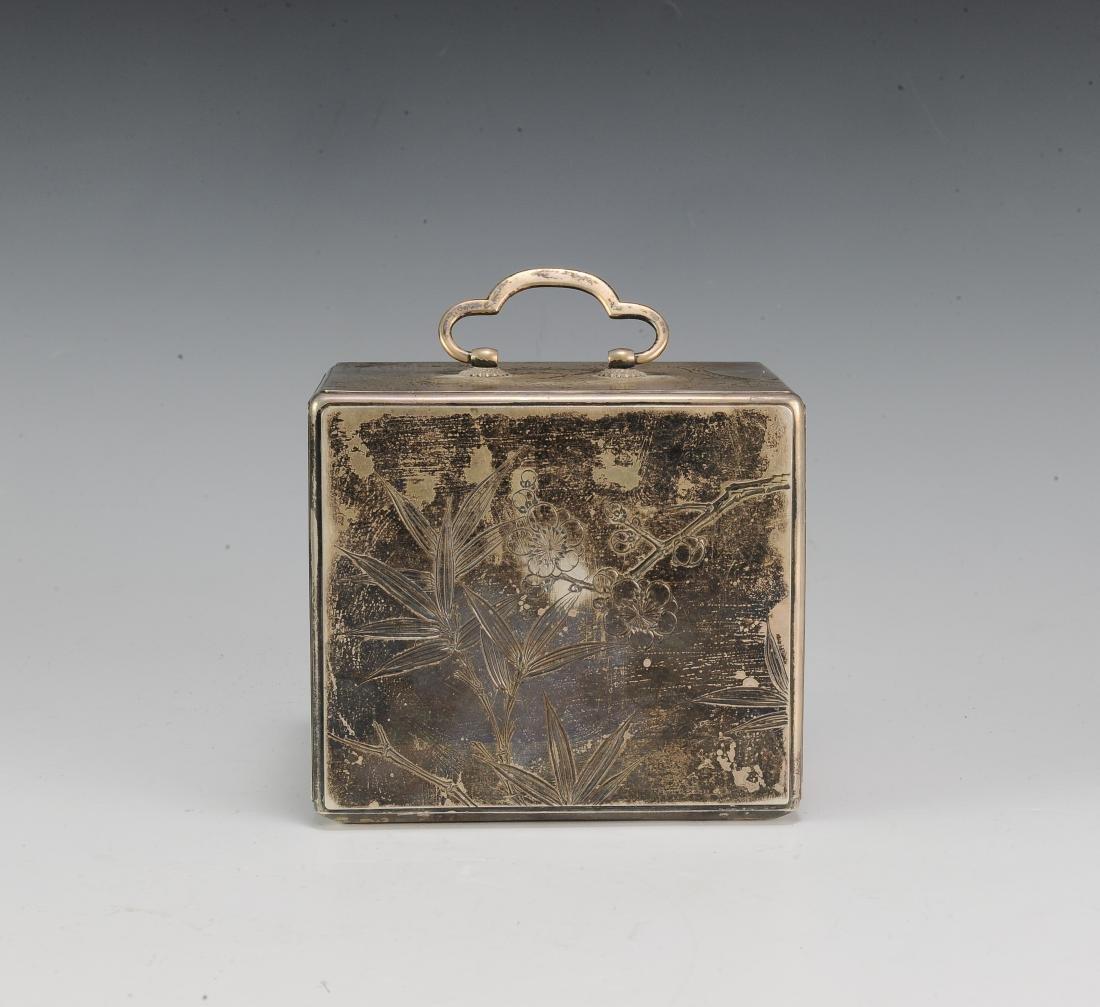 Japanese Silver Scholar's Box, 19th Century - 4