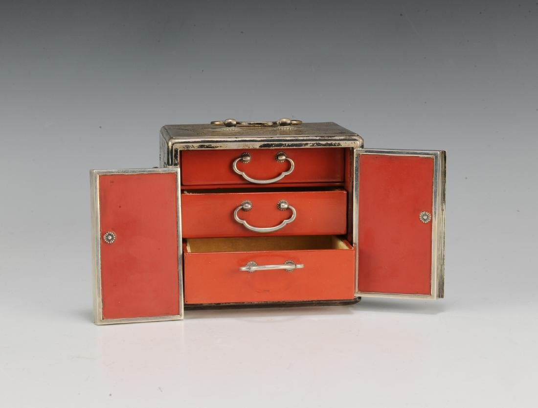 Japanese Silver Scholar's Box, 19th Century - 8