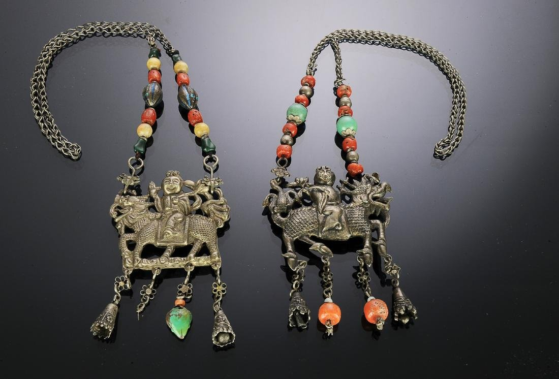 Set of 2 Chinese Silver Necklaces, 19th Century
