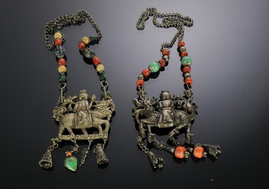 Set of 2 Chinese Silver Necklaces, 19th Century - 2