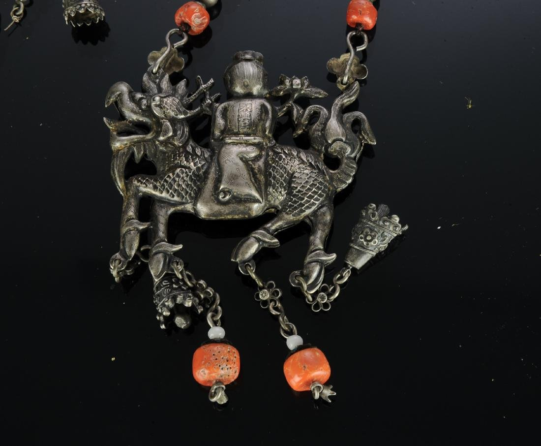 Set of 2 Chinese Silver Necklaces, 19th Century - 3