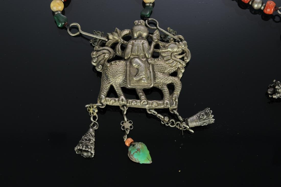 Set of 2 Chinese Silver Necklaces, 19th Century - 4