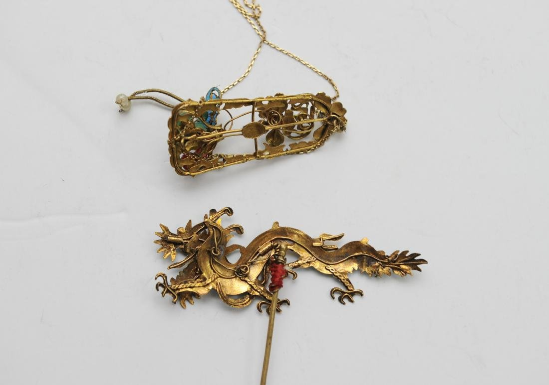 2 Chinese Kingfisher Feather Hair Pins, 19th Century - 2