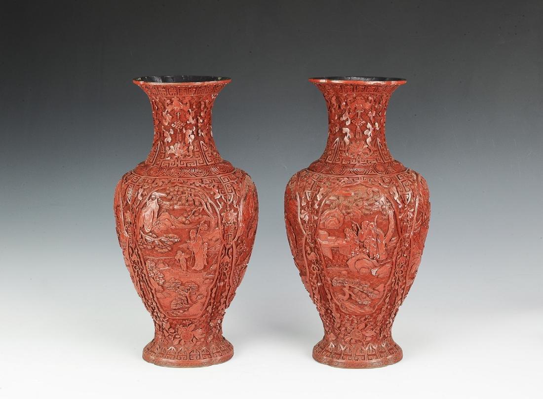 Pair of Chinese Cinnabar Vases, 19th Century