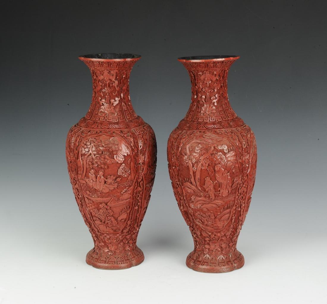 Pair of Chinese Cinnabar Vases, 19th Century - 2