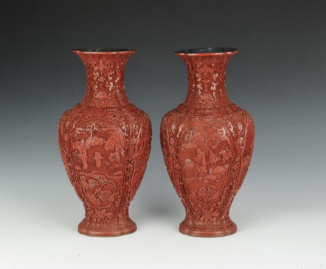 Pair of Chinese Cinnabar Vases, 19th Century - 3