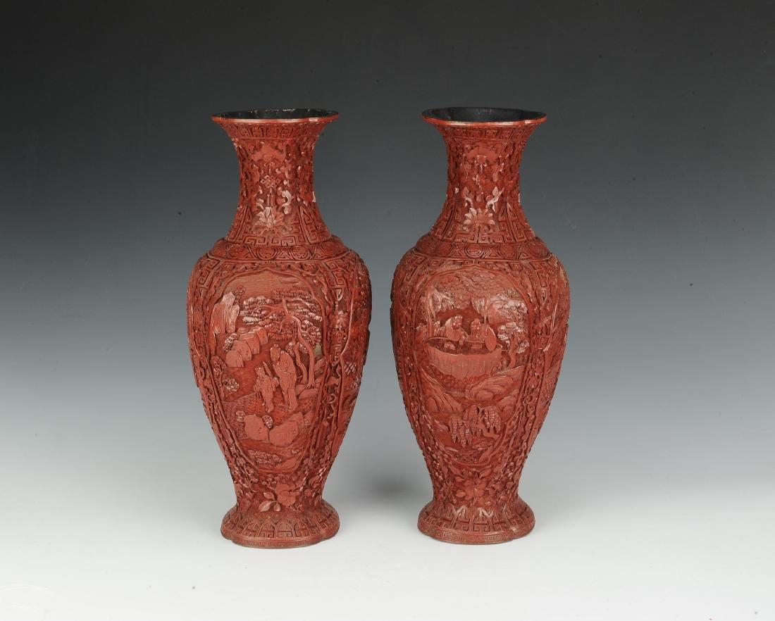 Pair of Chinese Cinnabar Vases, 19th Century - 4
