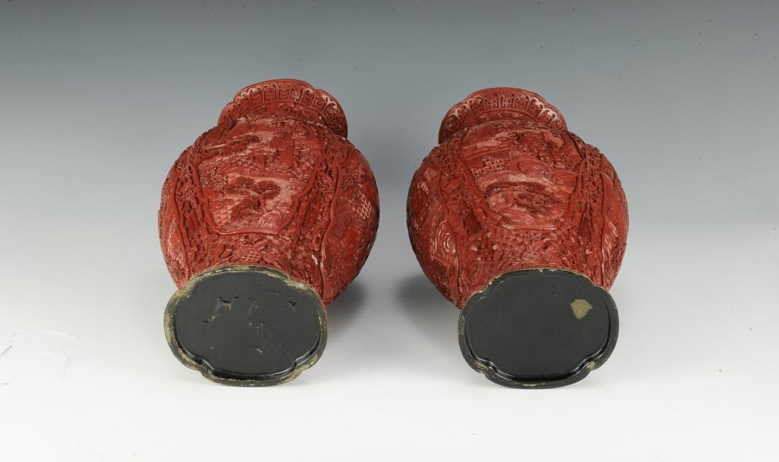Pair of Chinese Cinnabar Vases, 19th Century - 5