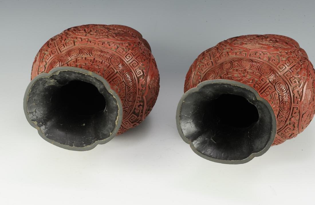 Pair of Chinese Cinnabar Vases, 19th Century - 6