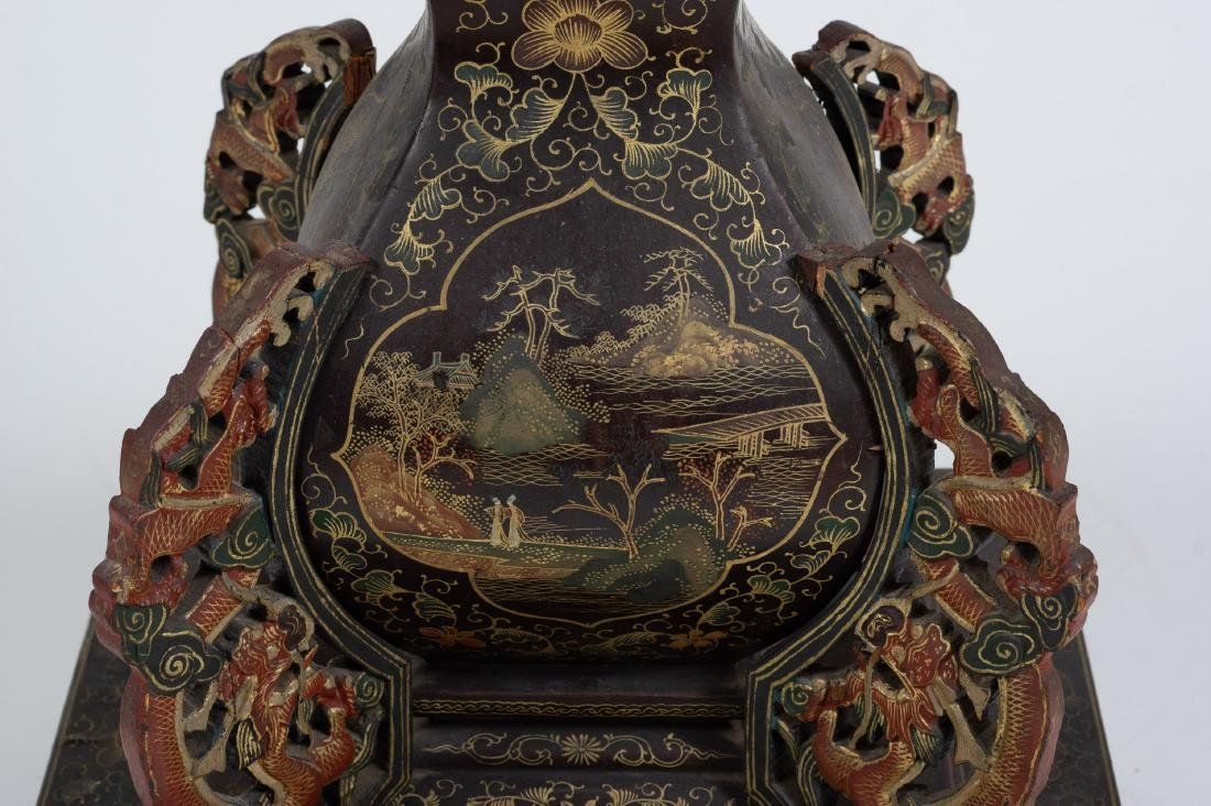 Chinese Lacquer Candle Holder, 18th-19th Century - 7