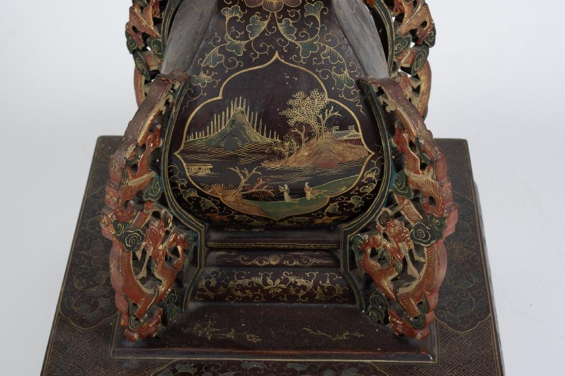 Chinese Lacquer Candle Holder, 18th-19th Century - 8