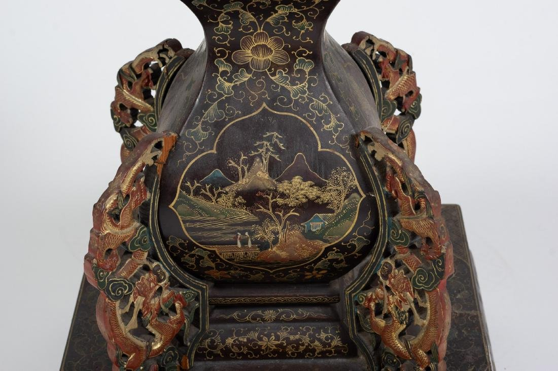 Chinese Lacquer Candle Holder, 18th-19th Century - 9