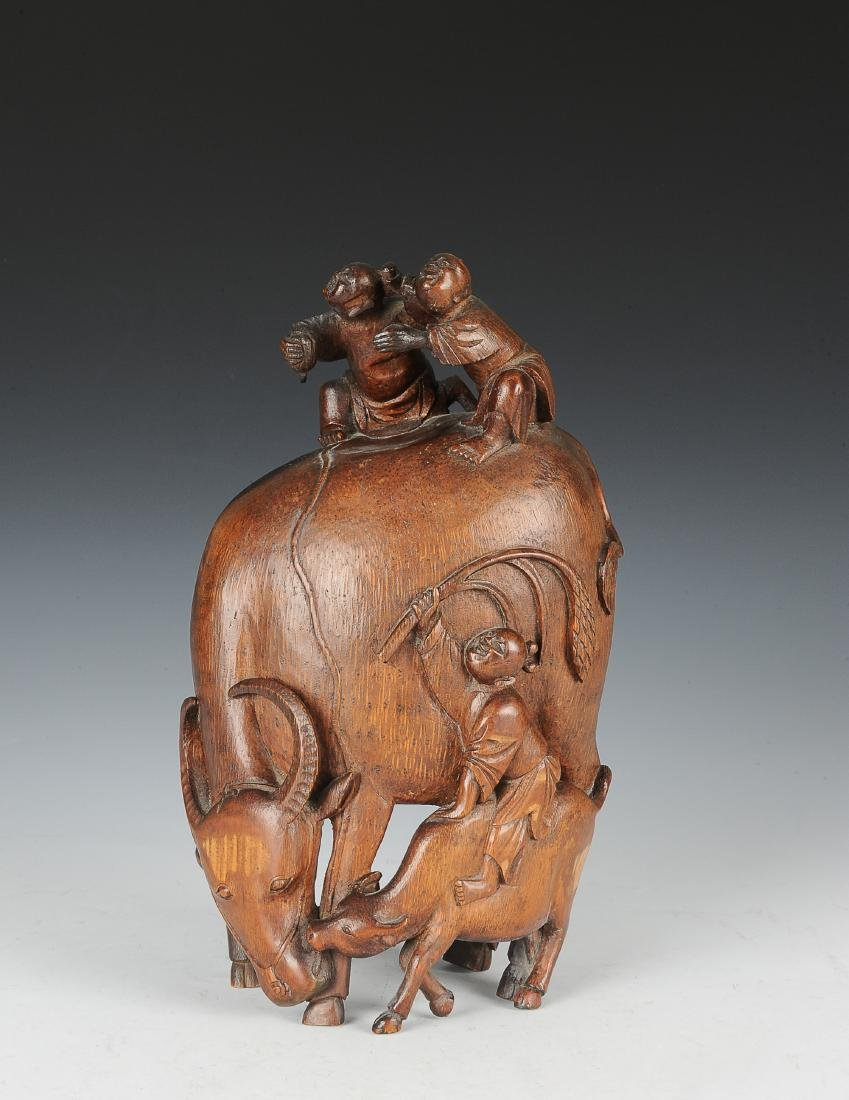 Chinese Bamboo Carving of Boys & Oxen, 18th Century - 2