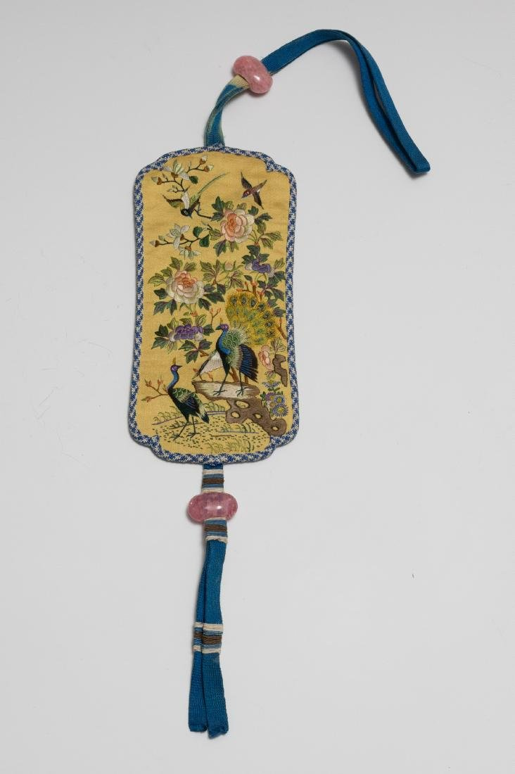 Chinese Embroidered Silk Incense Holder, 19th Century
