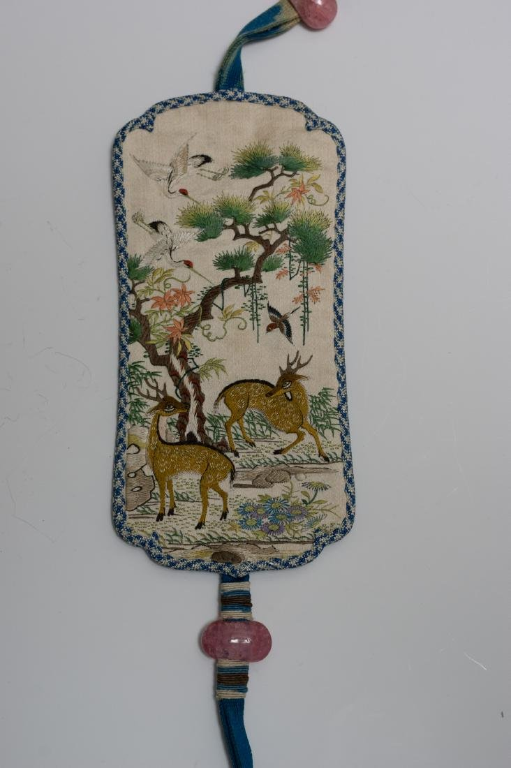 Chinese Embroidered Silk Incense Holder, 19th Century - 3
