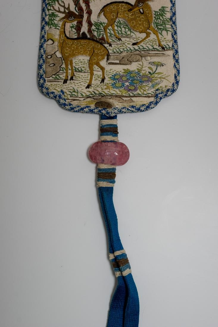 Chinese Embroidered Silk Incense Holder, 19th Century - 4