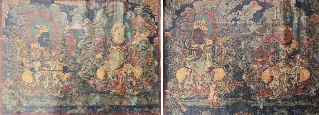 Pair of Thangkas of Guardian Kings