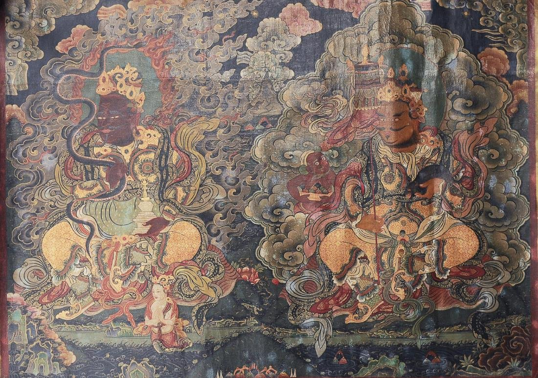 Pair of Thangkas of Guardian Kings - 2