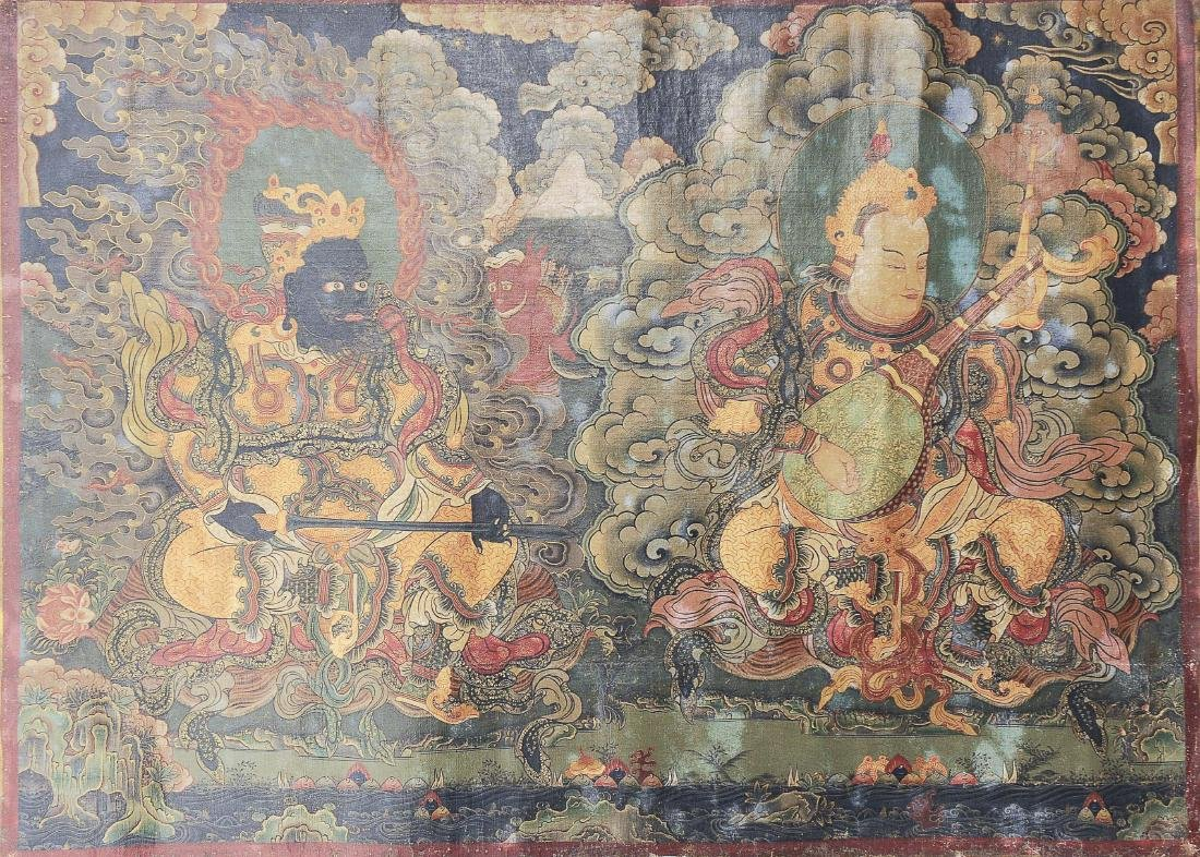 Pair of Thangkas of Guardian Kings - 5