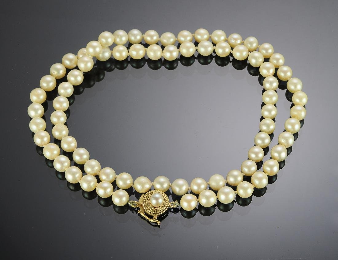 Knotted Pearl Necklace With 18K Gold Clasp