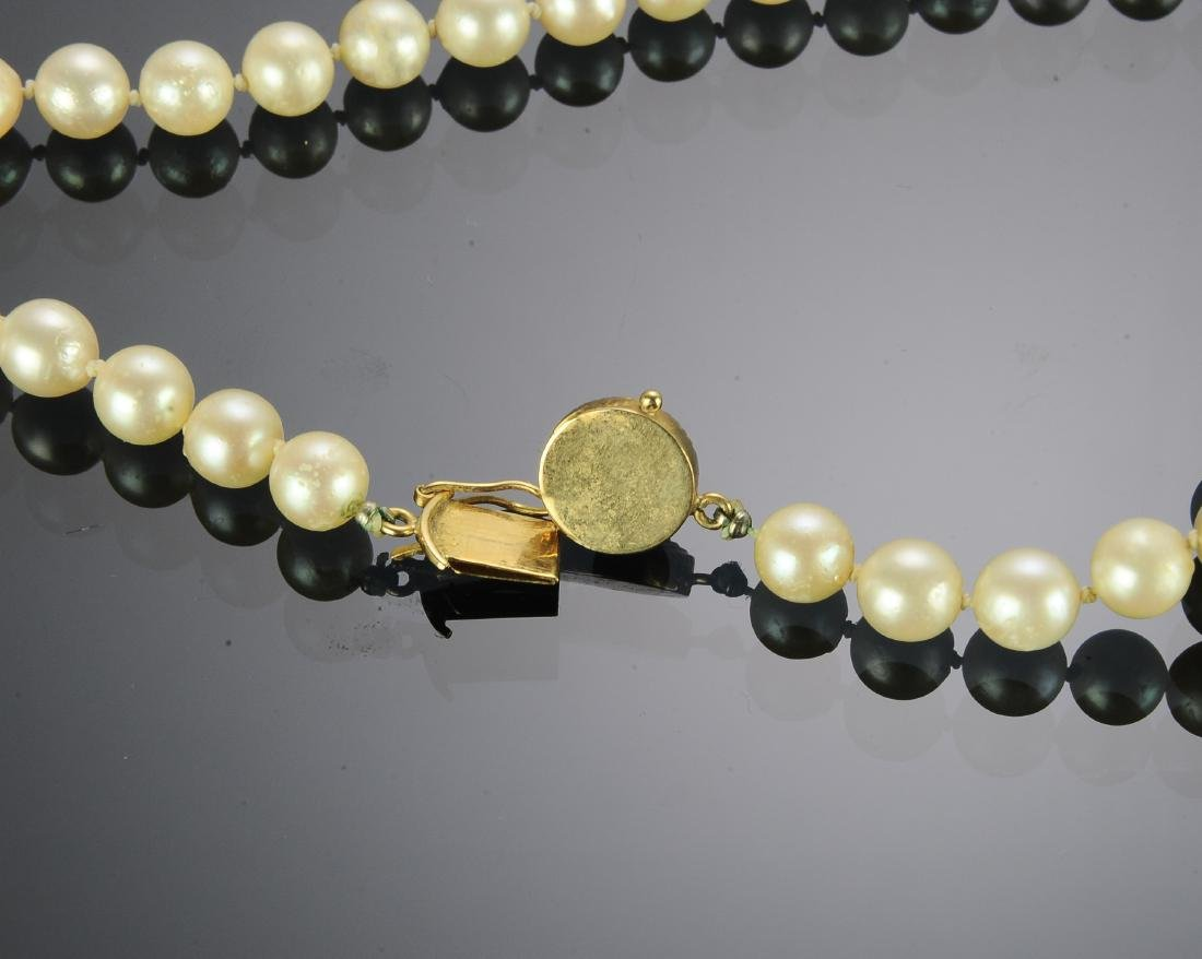 Knotted Pearl Necklace With 18K Gold Clasp - 2