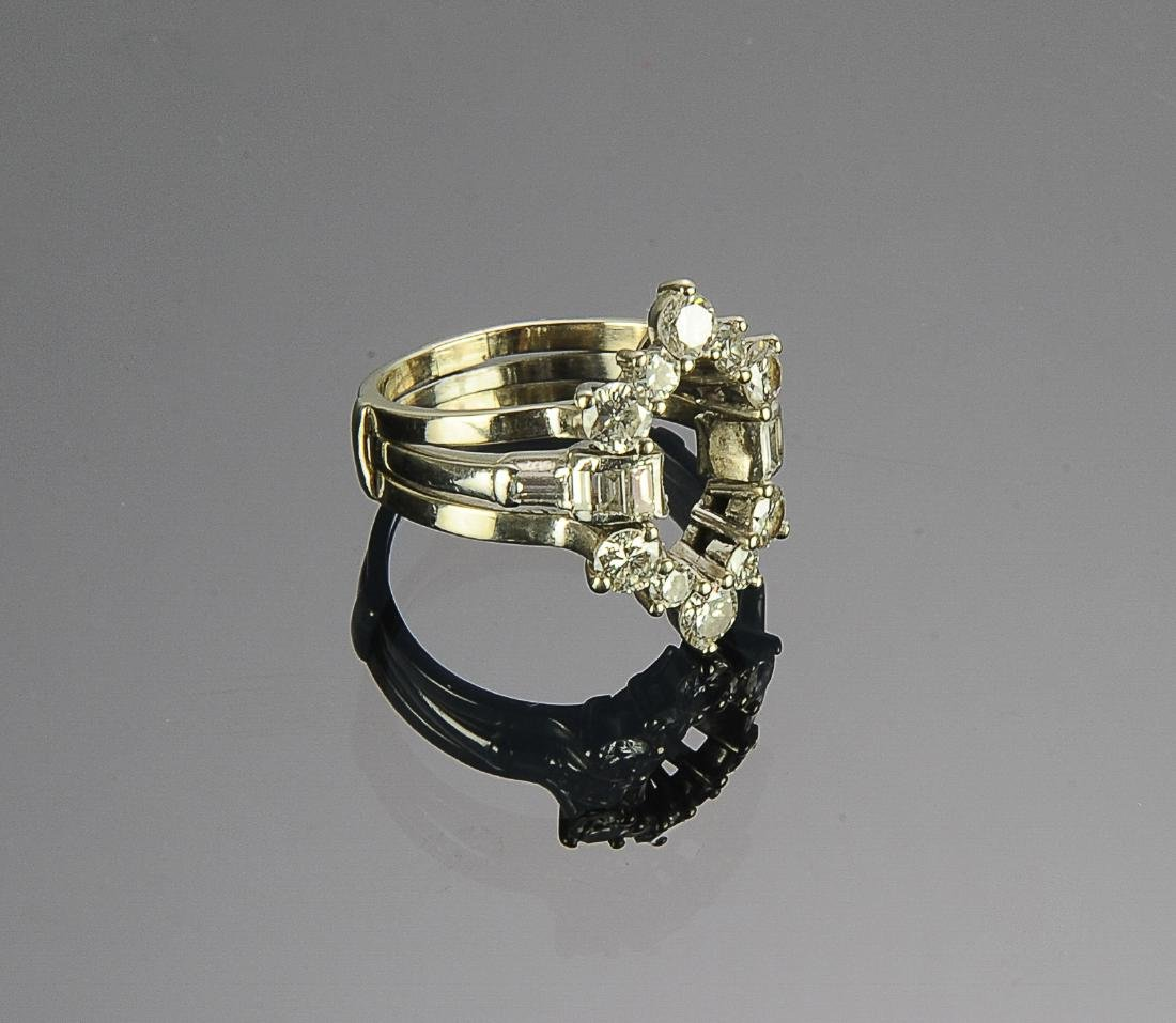 (2) Platinum 14k & Diamond Insert Rings