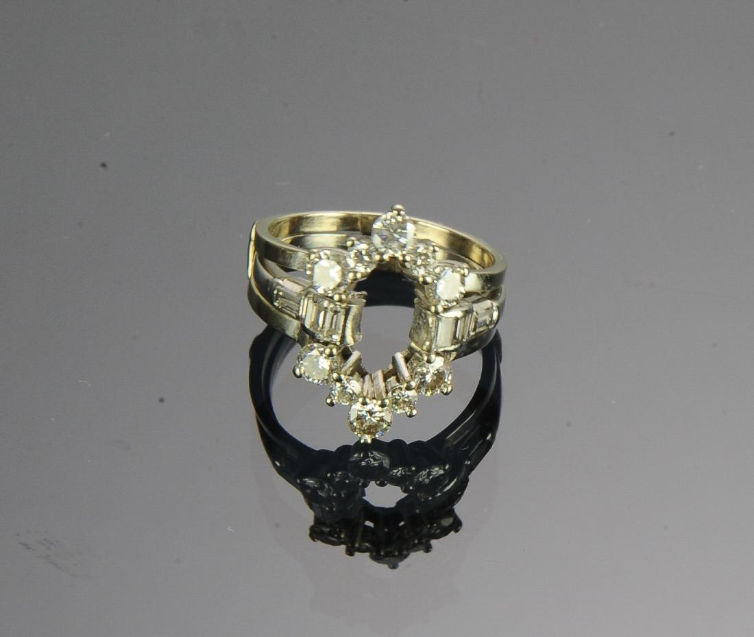 (2) Platinum 14k & Diamond Insert Rings - 2