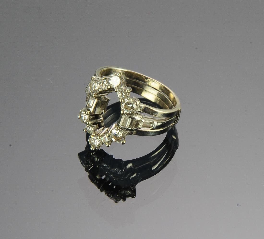 (2) Platinum 14k & Diamond Insert Rings - 3