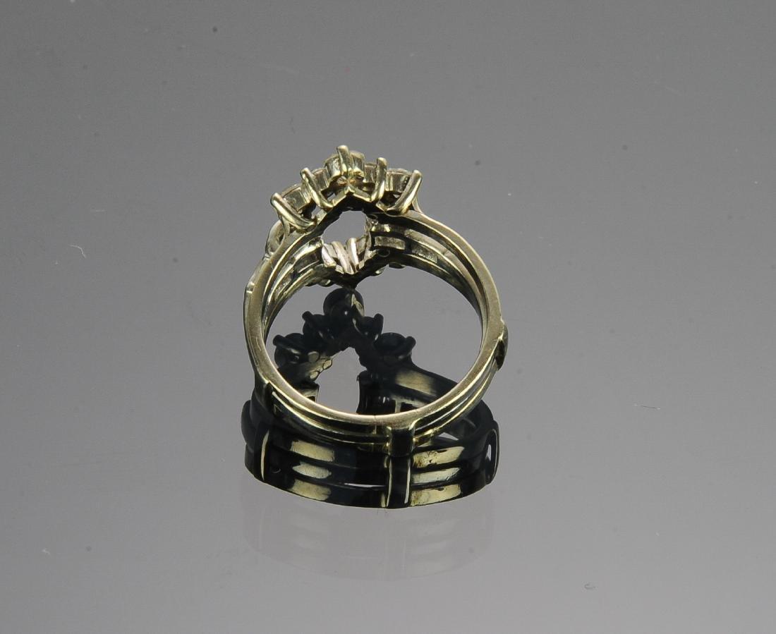 (2) Platinum 14k & Diamond Insert Rings - 4