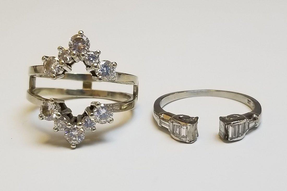 (2) Platinum 14k & Diamond Insert Rings - 5