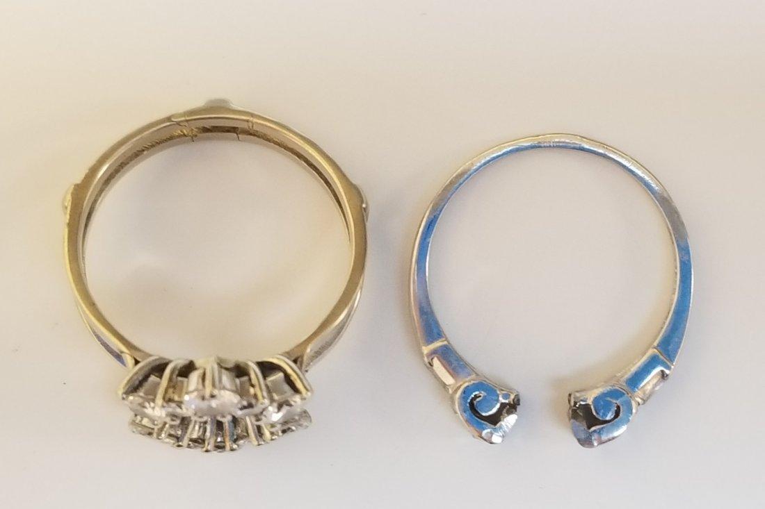 (2) Platinum 14k & Diamond Insert Rings - 6