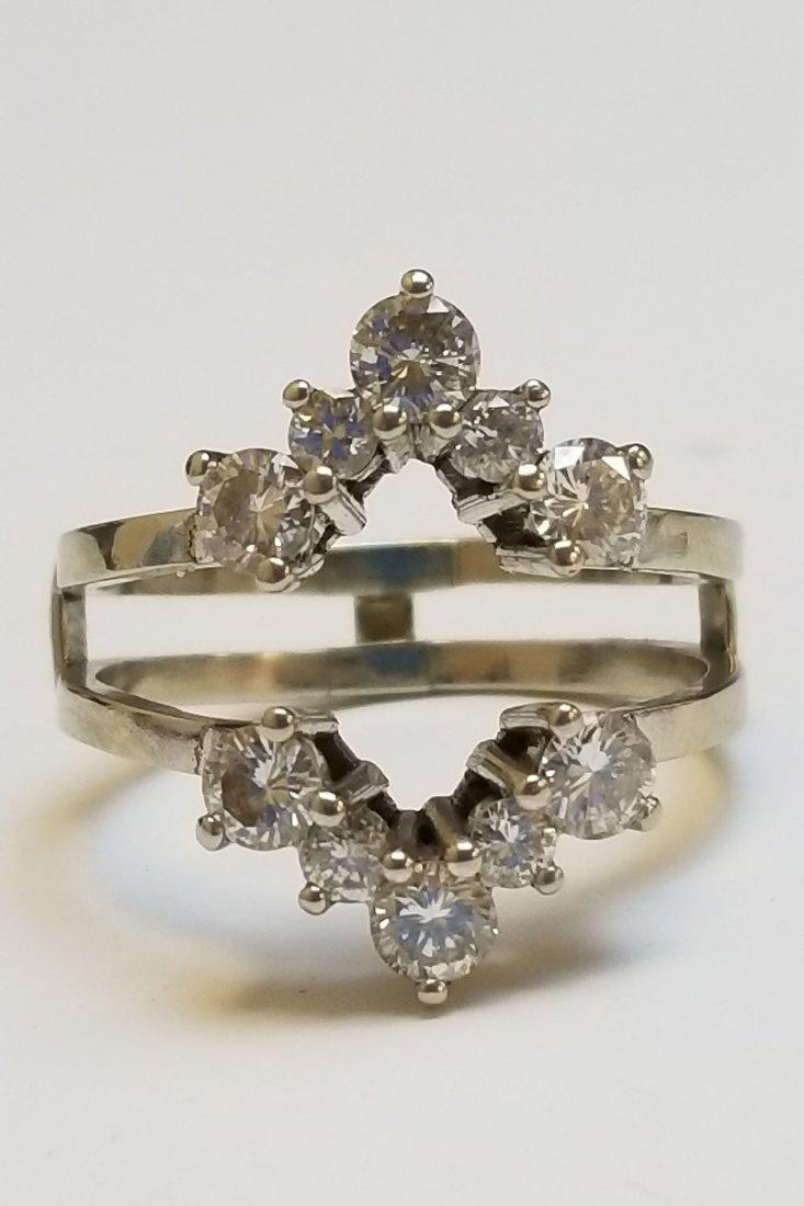 (2) Platinum 14k & Diamond Insert Rings - 7