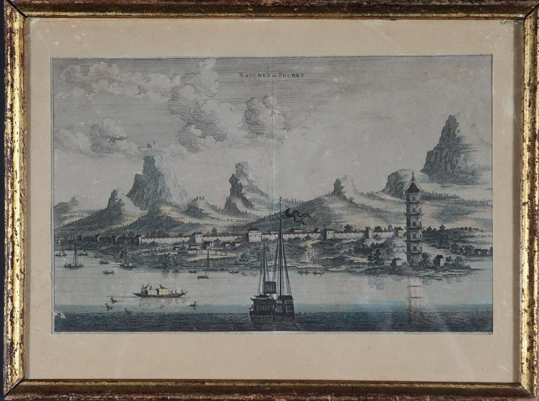 1670 Aquatint Map View of Suzhou China