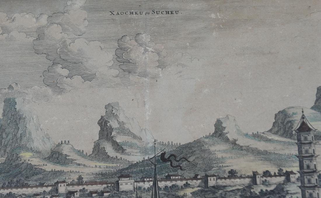 1670 Aquatint Map View of Suzhou China - 2