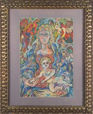 Rene Portocarrero 1947 Pastel Madonna & Child