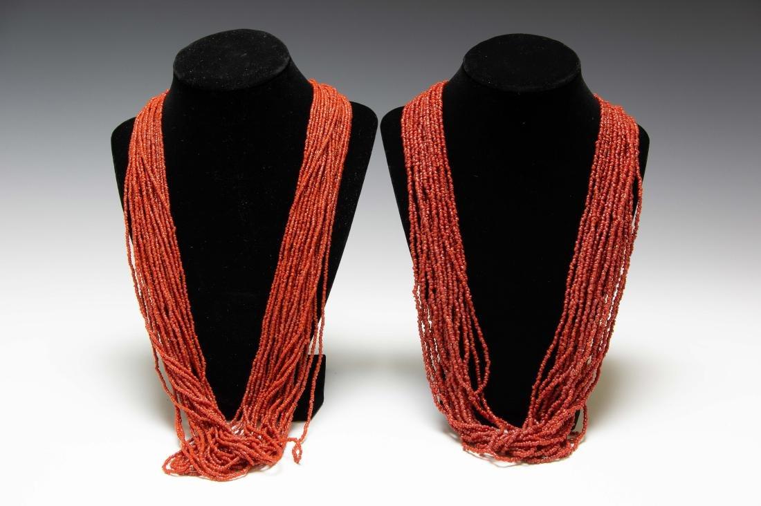 Native American Coral Bead Necklaces (2)