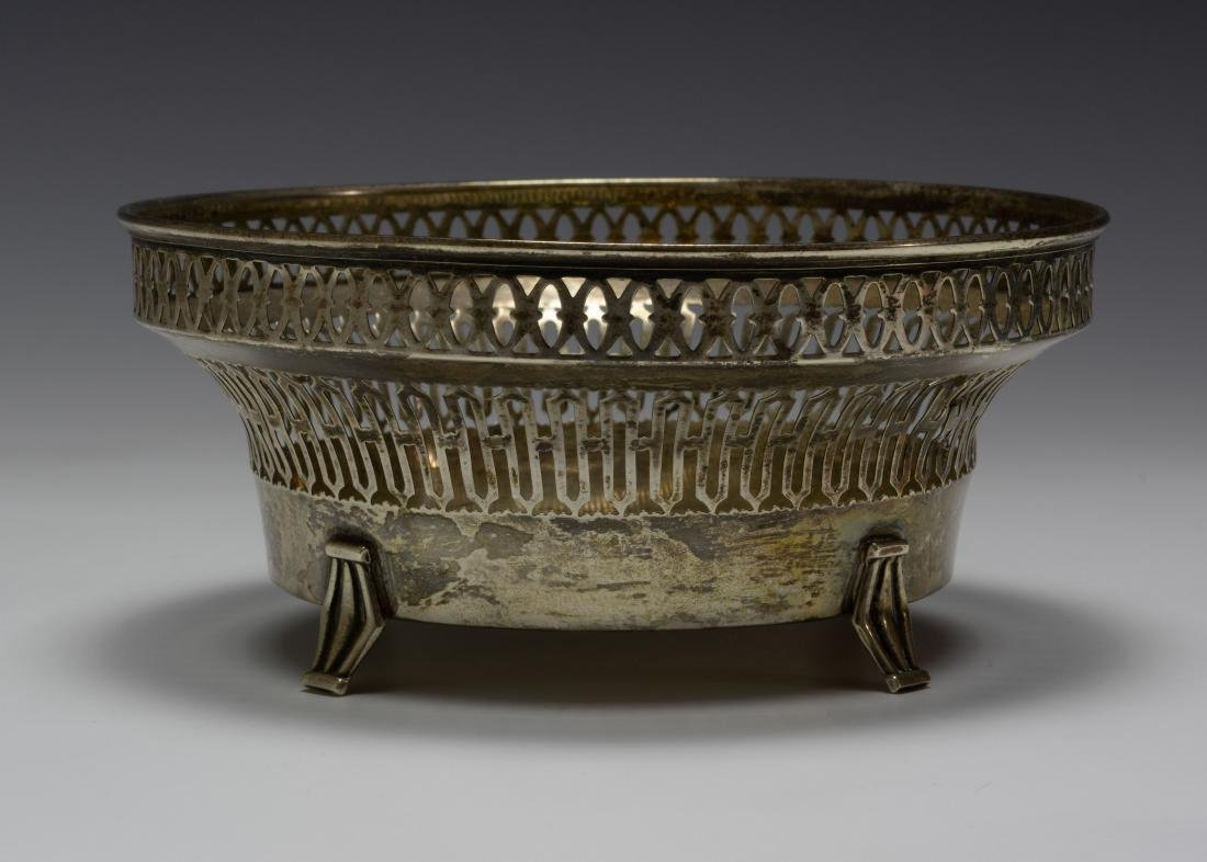 925 Sterling Silver Towle Reticulated Footed Bowl - 2