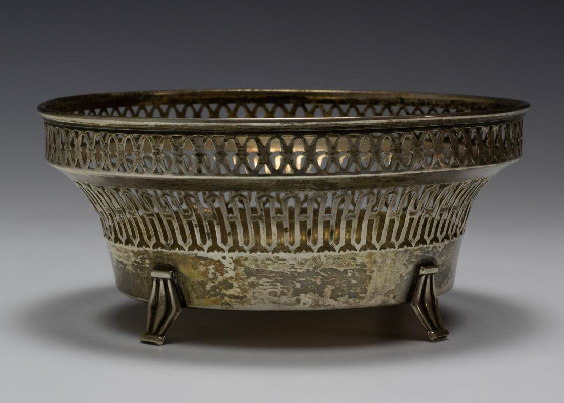 925 Sterling Silver Towle Reticulated Footed Bowl - 3