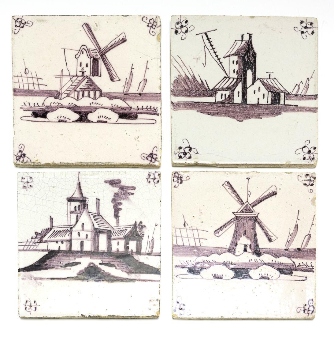 Delft Tile Manganese White Landscape Dutch (4)