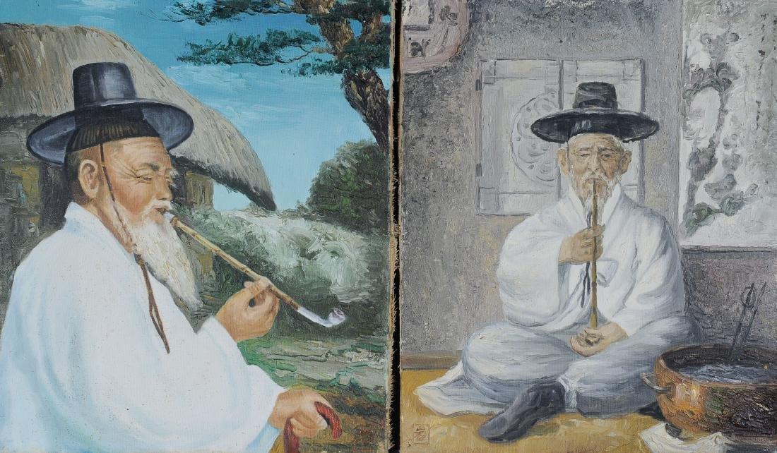 Signed Korean Oil on Canvas Portraits (2)