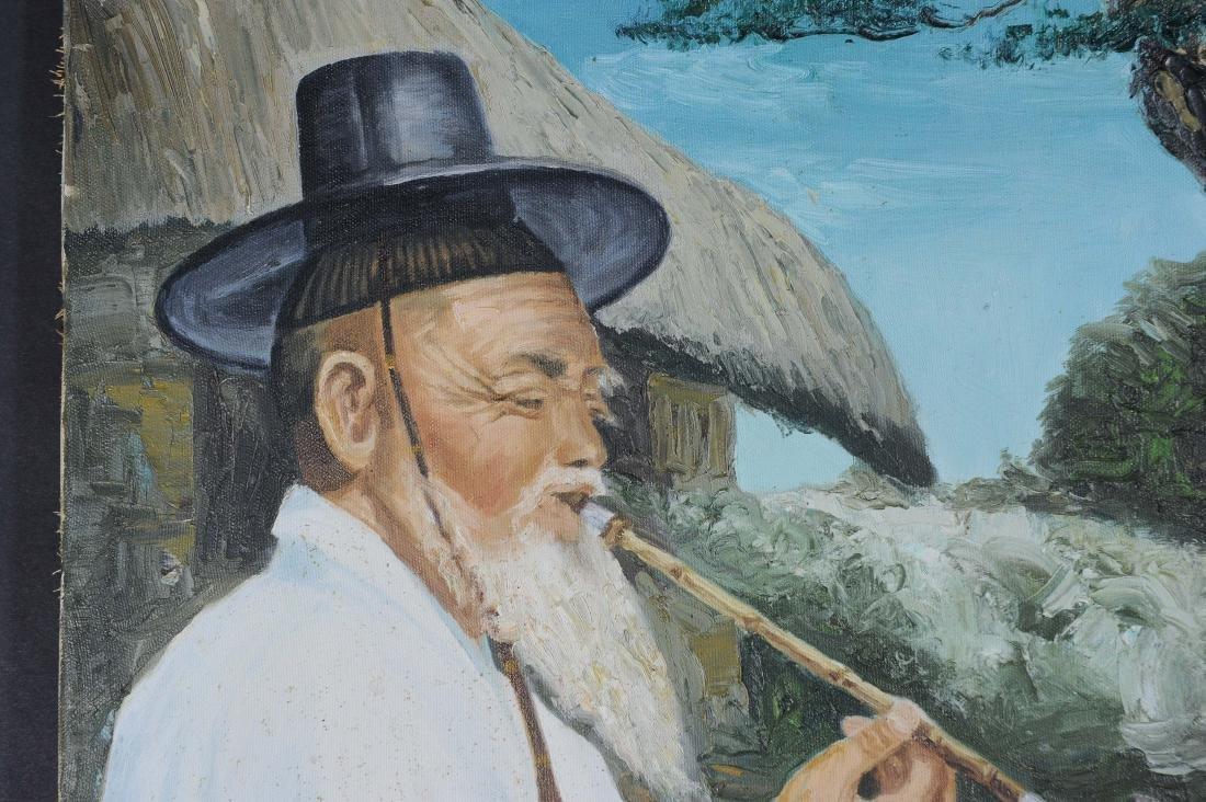 Signed Korean Oil on Canvas Portraits (2) - 3