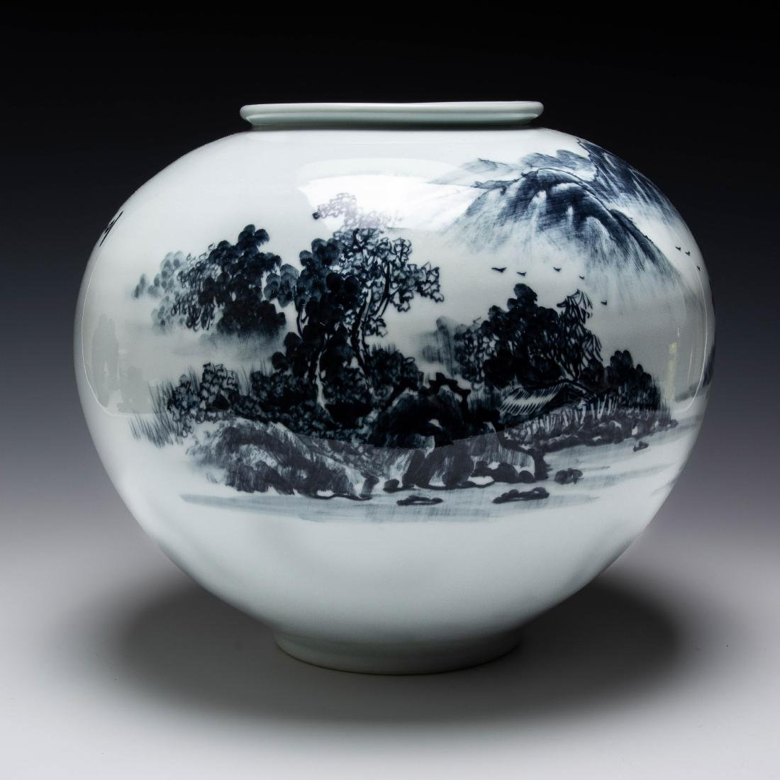 Blue & White Korean Vase w/ Dedication, 1992