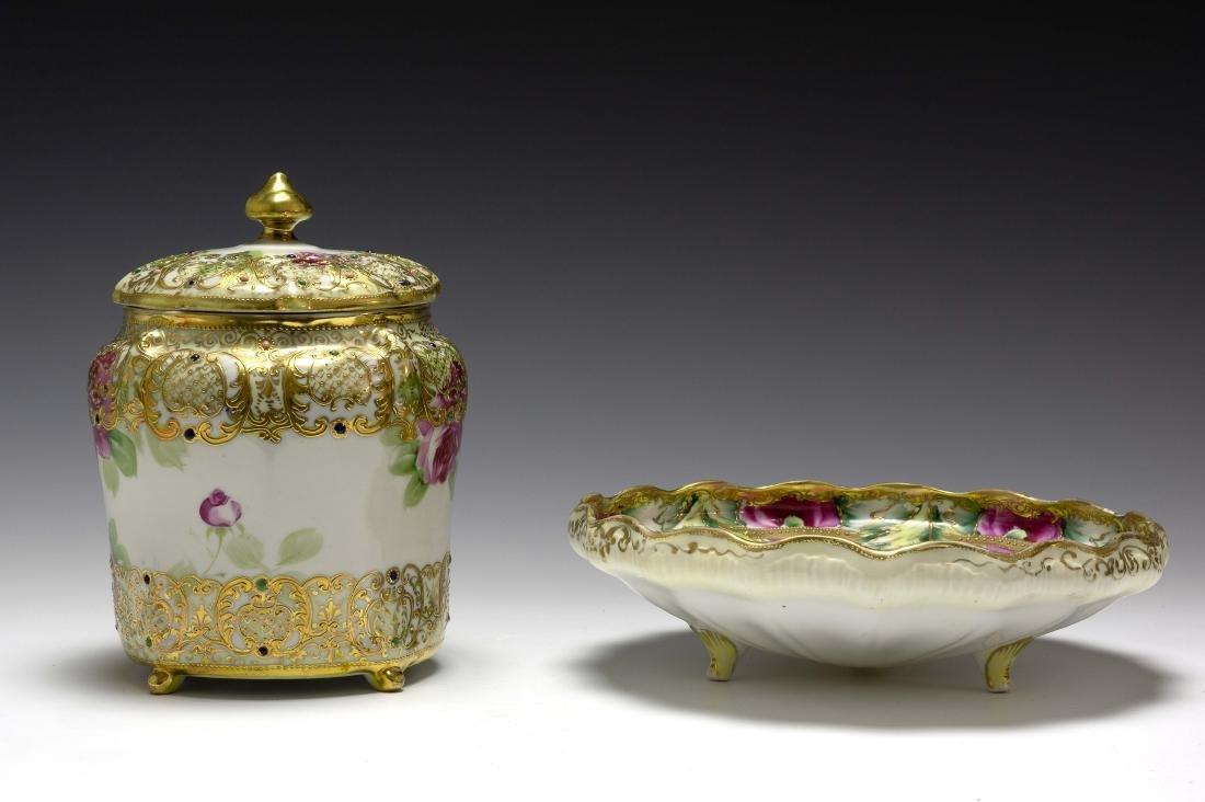 (2) Nippon Porcelain Biscuit Barrel & Rose Bowl