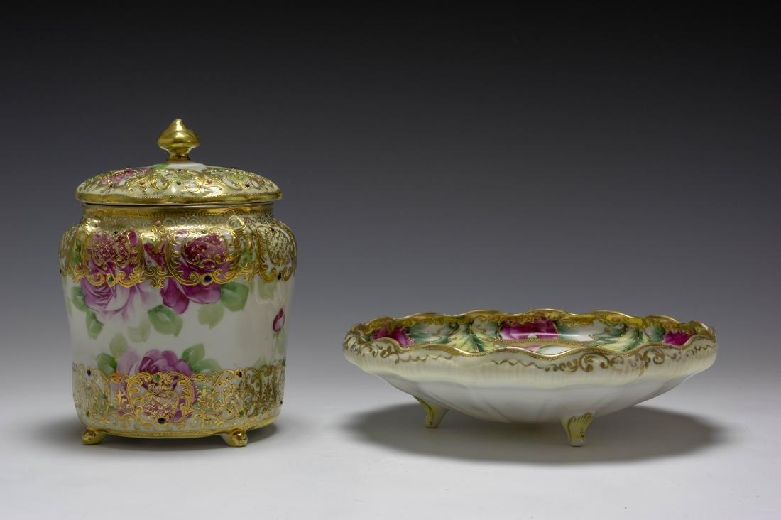 (2) Nippon Porcelain Biscuit Barrel & Rose Bowl - 2