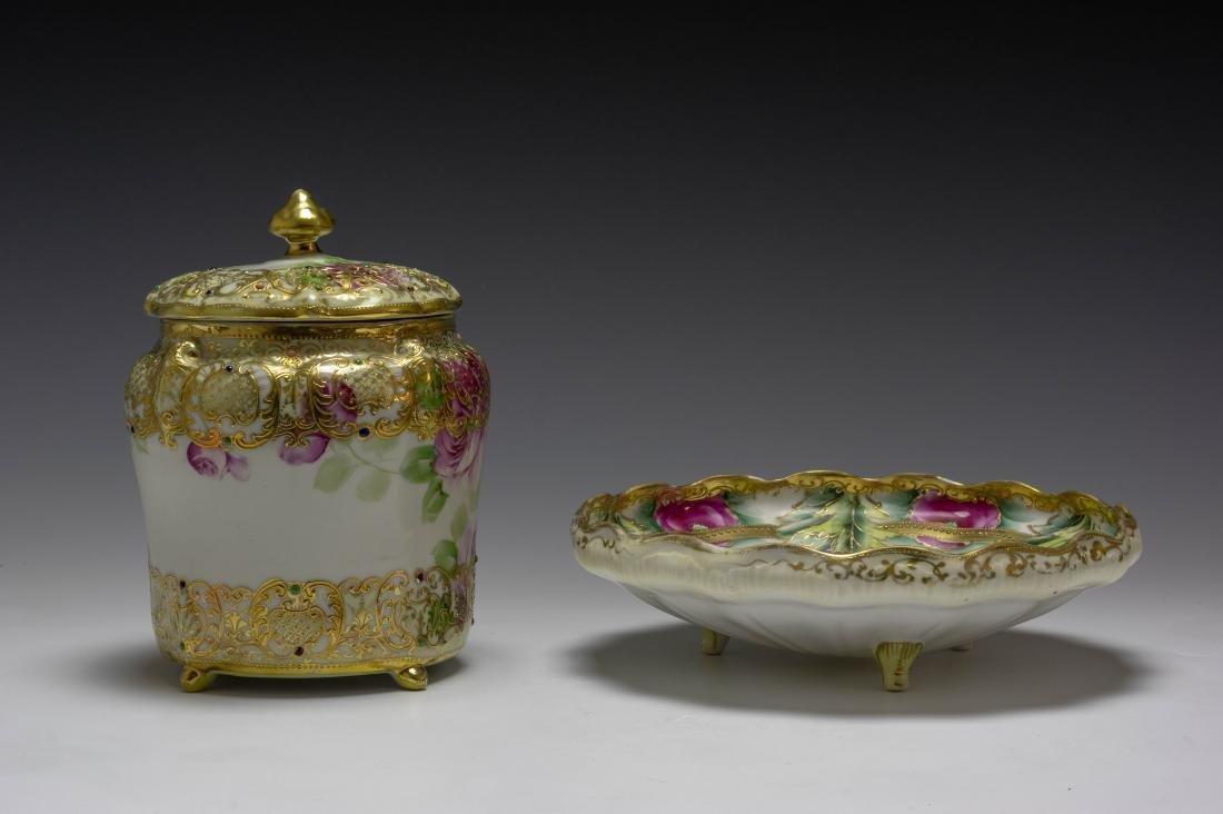 (2) Nippon Porcelain Biscuit Barrel & Rose Bowl - 3