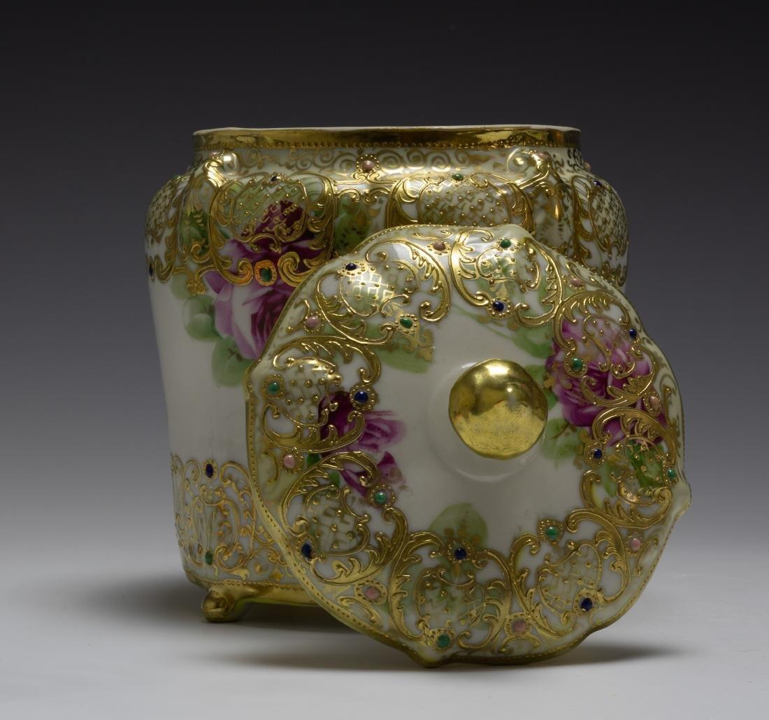 (2) Nippon Porcelain Biscuit Barrel & Rose Bowl - 4