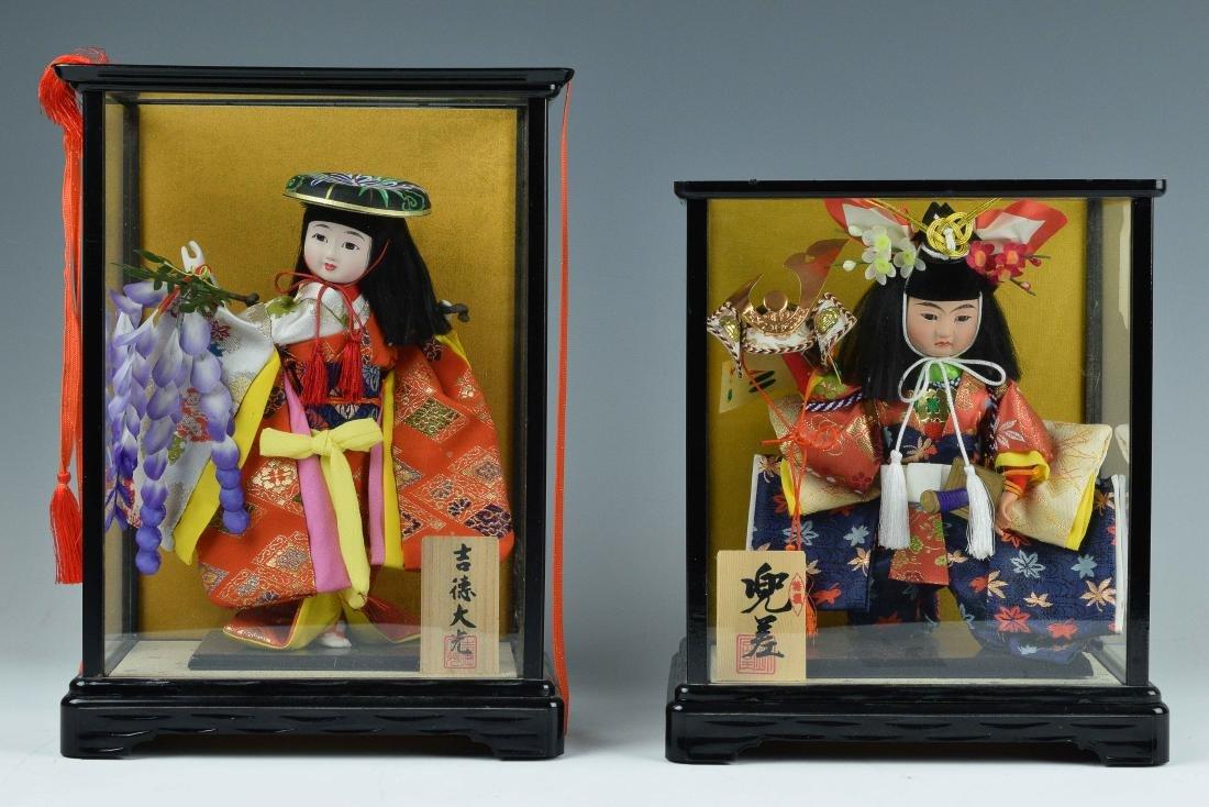 (2) Cased Japanese Dolls